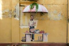 De beelden van Georgetown Maleisië op een muur penang stock afbeelding