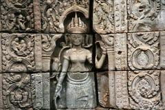 De beeldhouwwerken in angkor wat in Kambodja Royalty-vrije Stock Foto's