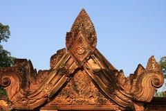 De beeldhouwwerken in banteayrei, angkor wat, Kambodja Royalty-vrije Stock Afbeeldingen