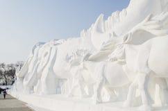 De Beeldhouwwerken van de sneeuw bij het Festival van het Ijs en van de Sneeuw van Harbin in Harbin China Royalty-vrije Stock Afbeelding