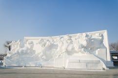 De Beeldhouwwerken van de sneeuw bij het Festival van het Ijs en van de Sneeuw van Harbin in Harbin China Stock Afbeeldingen