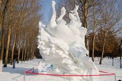 De Beeldhouwwerken van de sneeuw bij het Festival van het Ijs en van de Sneeuw van Harbin in Harbin China Stock Foto's