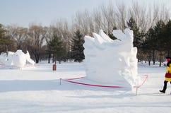 De Beeldhouwwerken van de sneeuw bij het Festival van het Ijs en van de Sneeuw van Harbin in Harbin China Stock Foto