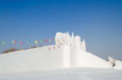 De Beeldhouwwerken van de sneeuw bij het Festival van het Ijs en van de Sneeuw van Harbin in Harbin China Royalty-vrije Stock Foto's