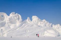 De Beeldhouwwerken van de sneeuw bij het Festival van het Ijs en van de Sneeuw van Harbin in Harbin China Stock Afbeelding