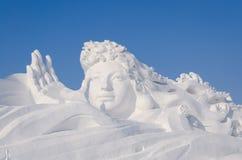 De Beeldhouwwerken van de sneeuw bij het Festival van het Ijs en van de Sneeuw van Harbin in Harbin China Royalty-vrije Stock Foto