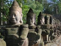 De Beeldhouwwerken van het Gezicht van Boedha, Kambodja Stock Foto's