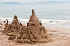 De Beeldhouwwerken van het zand Stock Foto's