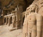 De beeldhouwwerken van Jain - Gwalior - India stock fotografie