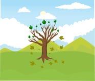 De beeldverhaalboom aborteert bladeren met bergachtergrond stock illustratie