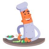 De beeldverhaalchef-kok snijdt de groenten voor salade Stock Foto