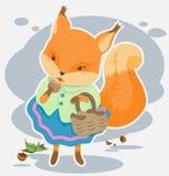 De beeldverhaaleekhoorn knaagt aan noten Stock Afbeelding