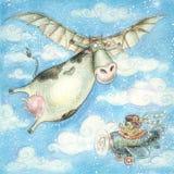 De beeldverhaalillustratie met koe en draagt De kaart van de vakantie Kinderenillustratie Stock Foto