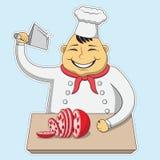 De beeldverhaalillustratie, slager sneed het vlees, slagerij, beeldverhaalkarakter royalty-vrije illustratie