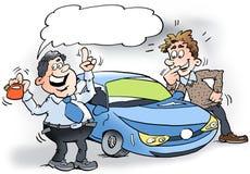 De beeldverhaalillustratie van een autoverkoper die een kleine benzine houden kan Stock Afbeelding