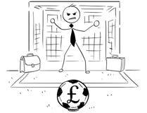 De beeldverhaalillustratie van Zakenman als Doel van de Voetbalvoetbal houdt Stock Afbeelding