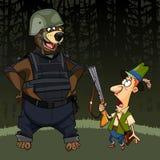De beeldverhaaljager met een kanon was bang van een beer in lichaamspantser Stock Foto's