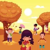 De beeldverhaaljonge geitjes genieten in openlucht de herfst van activiteiten stock illustratie
