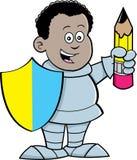 De beeldverhaaljongen kleedde zich als ridder vector illustratie