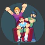 De beeldverhaaljongeren speelt videospelletjes zittend op de laagbank Gamepad in handen Vrienden die videospelletjes spelen Vecto vector illustratie