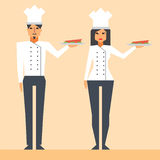 De beeldverhaalkarakters koken royalty-vrije illustratie
