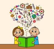 De beeldverhaalkinderen lezen een boek Royalty-vrije Stock Foto