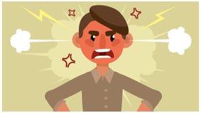 De beeldverhaalmens is verstoord Negatieve emotie stock illustratie