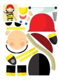 De beeldverhaaloefening met schaar voor childlren - brandweerman Stock Afbeelding
