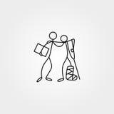 De beeldverhaalpictogrammen van schets plakken cijfers in leuke miniatuurscènes royalty-vrije illustratie