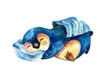 De beeldverhaalpinguïn ligt op een hoofdkussen en slaap door een deken wordt behandeld die Witte achtergrond royalty-vrije illustratie