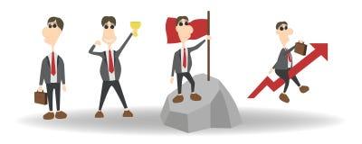 De beeldverhaalreeks van zakenmankarakter met verschillend stelt en acties Vectorillustratie vlak ontwerp op wit vector illustratie