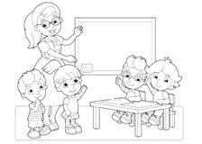 De beeldverhaalscène met kinderen en leraar in de klaslokaalholding overhandigt op vector kleurende pagina royalty-vrije illustratie