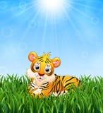 De beeldverhaaltijger bepaalt in het gras op een achtergrond van heldere zonneschijn royalty-vrije illustratie