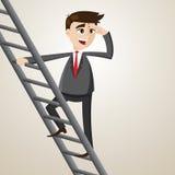 De beeldverhaalzakenman beklimt ladder en het zoeken van kans Stock Afbeelding