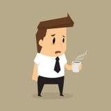 De beeldverhaalzakenman drinkt koffie wegens slaperigheid Stock Afbeelding