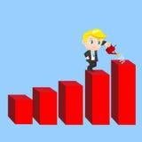 De beeldverhaalzakenman toont de verkoopgroei Stock Afbeelding