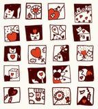 De beeldverhalen van de liefde met katten, bloem, huizen Stock Afbeelding