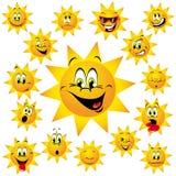 De Beeldverhalen van de zon met Grappige Gezichten Royalty-vrije Stock Foto's