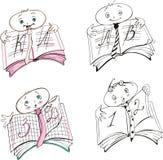 De beeldverhalen van het het tekenboek van de leerling Stock Fotografie