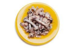 De beenderen van de kip op plaat Stock Fotografie