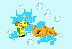 De beer en de schildpad - zeepbels Stock Foto