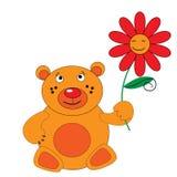 De beer met rode bloem. Royalty-vrije Stock Foto's