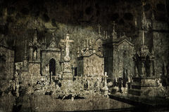 De begraafplaats van Halloween grunge Royalty-vrije Stock Afbeeldingen