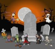 De begraafplaats van Halloween met monsterkarakters stock illustratie
