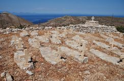 De begraafplaats van Mikrochorio, Tilos royalty-vrije stock foto's