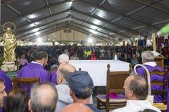 De begrafenisdiensten voor slachtoffers van aardbeving, Amatrice en Accumuli, Italië stock fotografie
