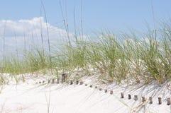 De begraven omheining van het zandduin stock foto's