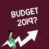 De Begrotings 2019 Vraag van de handschrifttekst De raming van de conceptenbetekenis van inkomen en uitgaven voor volgend jaarzak royalty-vrije illustratie