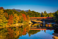 De Behandelde Brug van Saco Rivier in Conway, New Hampshire Stock Fotografie