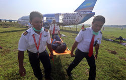 De behandelende simulatie van het vliegtuigenongeval Stock Fotografie